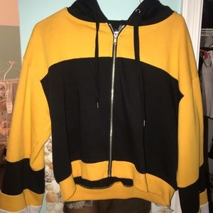 Cropped Black and Gold Hoodie